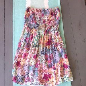 Bershka, floral, boho, mini strapless dress.